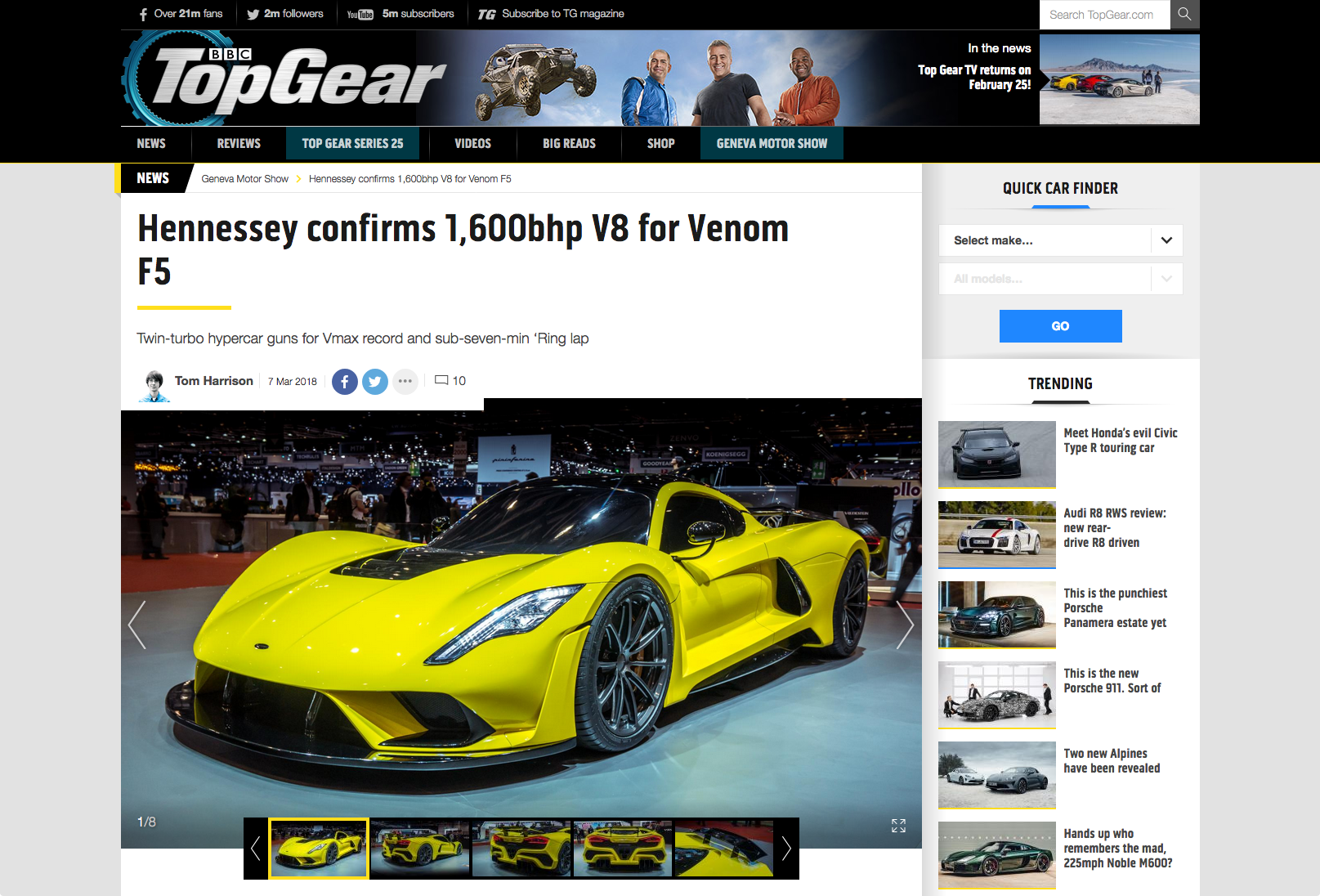 Top Gear Article on Hennessey Venom F5